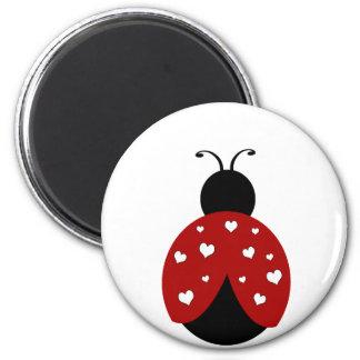 Coccinelle noire et rouge de coeur magnets pour réfrigérateur