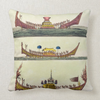 Cochin Chinese ships, illustration from 'Le Costum Throw Pillow