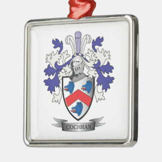 Cochran Family Crest Coat of Arms Silver-Colored Square Ornament