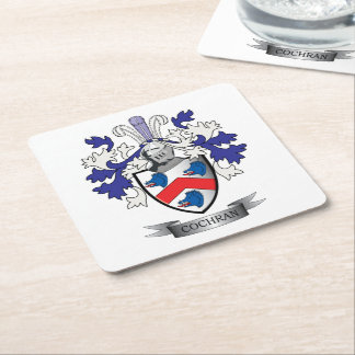 Cochran Family Crest Coat of Arms Square Paper Coaster