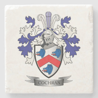 Cochran Family Crest Coat of Arms Stone Coaster