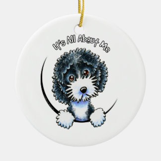 Cockapoo Black Parti IAAM Round Ceramic Ornament