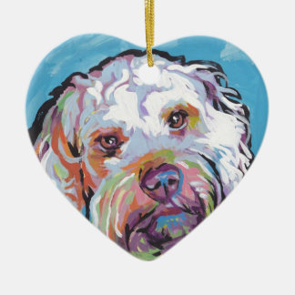 Cockapoo Bright Colorful Pop Dog Art Ceramic Heart Ornament