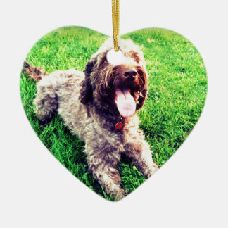 Cockapoo Ceramic Heart Ornament