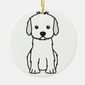 Cockapoo Dog Cartoon Round Ceramic Ornament
