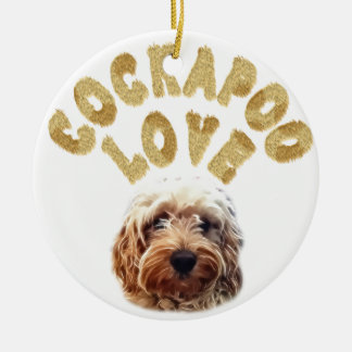 Cockapoo Dog Round Ceramic Ornament