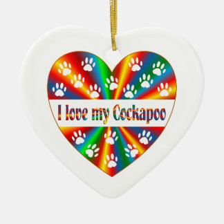 Cockapoo Love Ceramic Heart Ornament