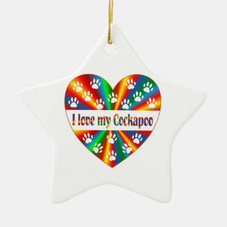 Cockapoo Love Ceramic Star Ornament