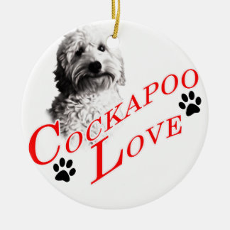 Cockapoo Love Round Ceramic Ornament