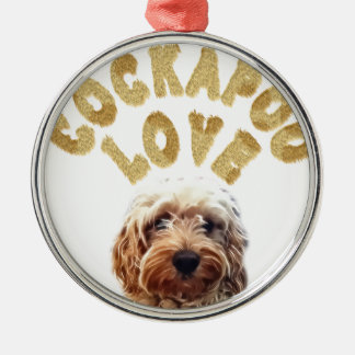 Cockapoo love Silver-Colored round ornament