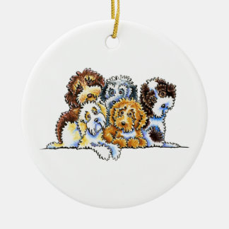 Cockapoo Rainbow Personalized Round Ceramic Ornament