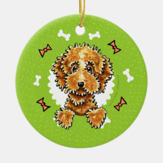 Cockapoo Tan Dog Bones Christmas Wreath Round Ceramic Ornament
