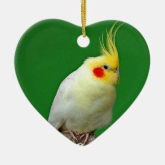 Cockatiel bird beautiful photo heart ornament