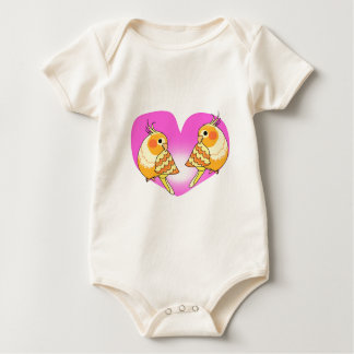 Cockatiel bird love on branch baby bodysuit
