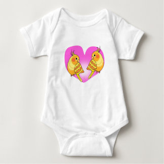 Cockatiel bird love on branch baby bodysuit