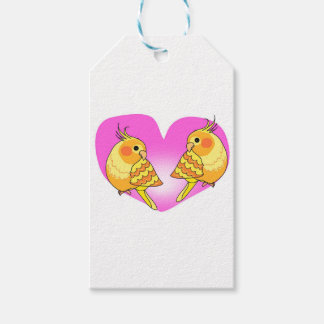Cockatiel bird love on branch gift tags