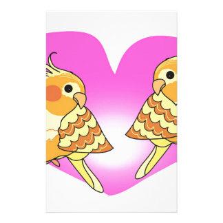 Cockatiel bird love on branch stationery