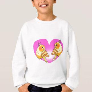 Cockatiel bird love on branch sweatshirt