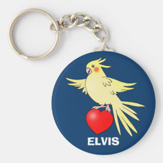 Cockatiel Bird on Heart keychain