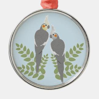 Cockatiel Couple Metal Ornament