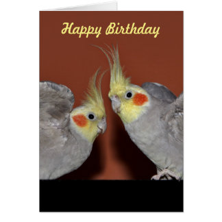 Cockatiel Duo Birthday Card (Customise Message)