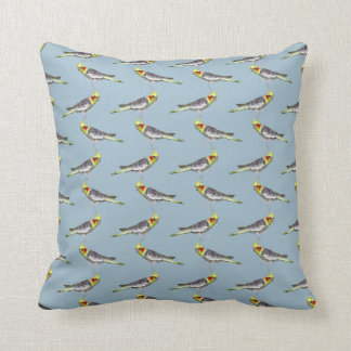 Cockatiel Frenzy Pillow (Light Blue)