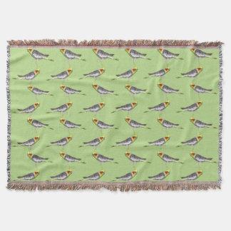 Cockatiel Frenzy Throw Blanket (Green)