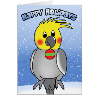 Cockatiel Happy Holidays Christmas Card