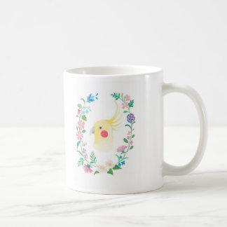 Cockatiel Lutino Floral Pet Bird Illustration Mug