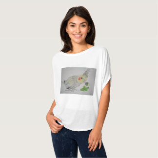 Cockatiel Parrot watercolor with flower T-shirt