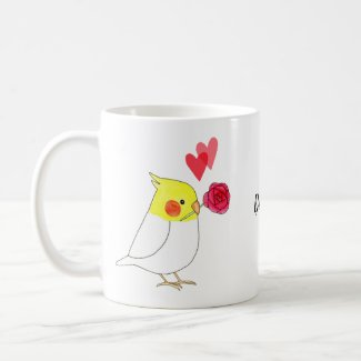 Cockatiel Valentine Custom Name Pet Bird Lover Coffee Mug