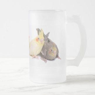 Cockatiels 16 Oz Frosted Glass Beer Mug