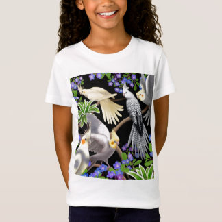 Cockatiels and Flowers Girls Baby Doll T-Shirt