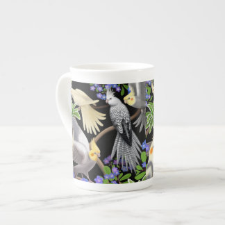 Cockatiels in Forget Me Nots Bone China Mug