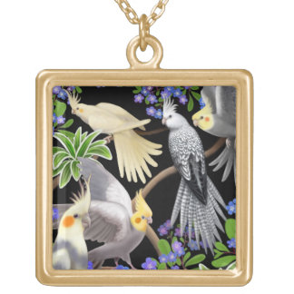 Cockatiels in Garden Flowers Necklace