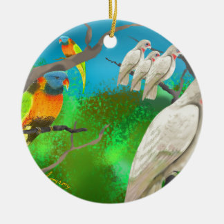 Cockatoos and Friends Ceramic Ornament