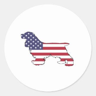 "Cocker spaniel ""American Flag"" Classic Round Sticker"