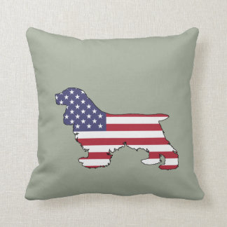 "Cocker spaniel ""American Flag"" Throw Pillow"
