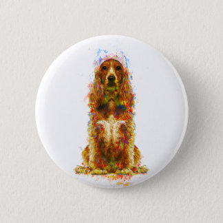 Cocker spaniel and watercolor 2 inch round button