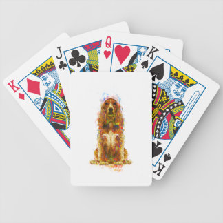 Cocker spaniel and watercolor bicycle playing cards