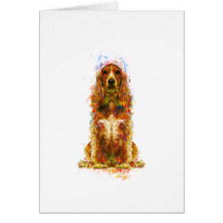 Cocker spaniel and watercolor card
