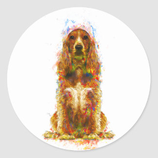 Cocker spaniel and watercolor classic round sticker
