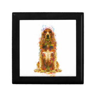 Cocker spaniel and watercolor gift box