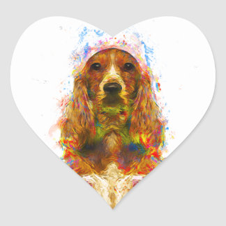 Cocker spaniel and watercolor heart sticker