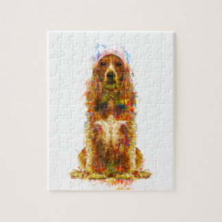 Cocker spaniel and watercolor jigsaw puzzle