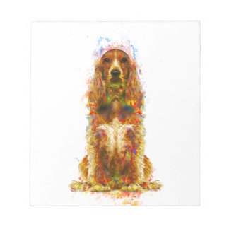Cocker spaniel and watercolor notepad