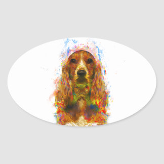 Cocker spaniel and watercolor oval sticker