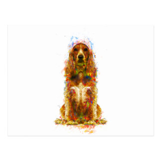 Cocker spaniel and watercolor postcard