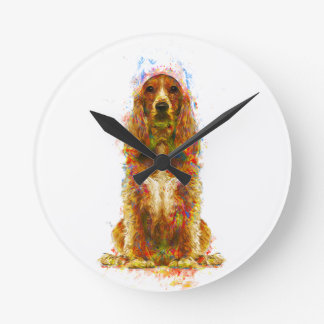 Cocker spaniel and watercolor round clock