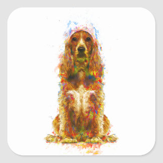 Cocker spaniel and watercolor square sticker